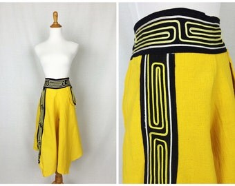 Vibrant Yellow Peasant Pants/ Culottes Large