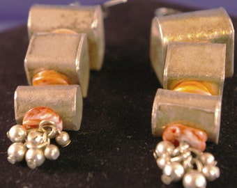 Large Silver Boxes with Spiney Oyster Earrings