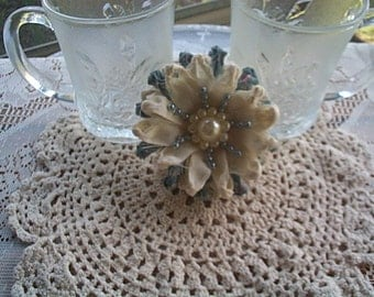 Knotted Linen and Country Blue Fabric Flower Set 2