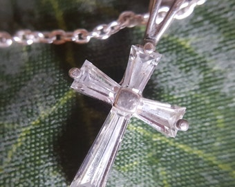 """Sterling Silver Cross Necklace with CZ Accents on 18"""" Sterling Silver Chain (st - 1753)"""