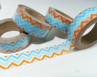Blue and Orange Washi / Masking Tape - 10M