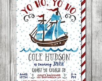 Watercolor Pirate Ship Invitation - Pirate Birthday Invitation - Pirates Birthday - 5x7 JPG (Front and Back Design)