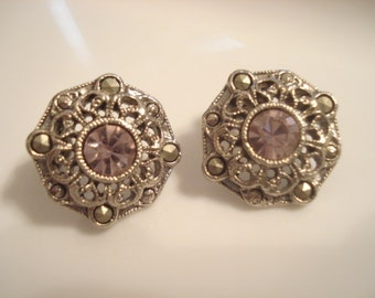 """Vintage """"1928"""" Designer Earrings Silver Tone With Pink Rhinestone And Marcasites"""