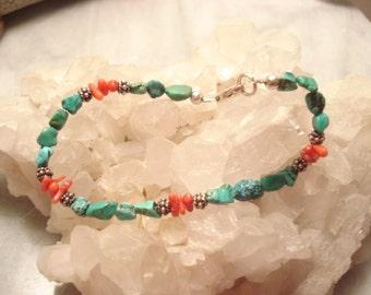 Vintage Handcrafted Turquoise & Red Coral Sterling Bracelet