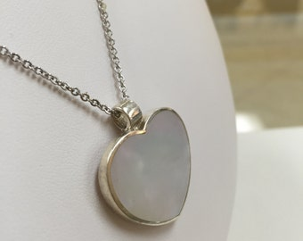 Sterling Silver Heart Necklace With Mother Of Pearl