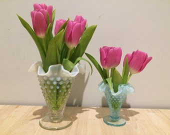 Fenton Hobnail Vase Duo in Aqua and White Crystal Milk Glass