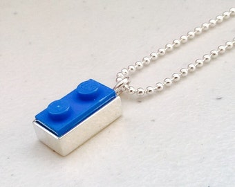 Handmade Sterling silver Lego necklace 2x1