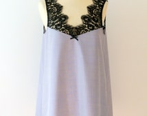 Silk & Lace Nightgown, Nightie, Nightdress, Women's Sleepwear, Silk Mauve Chambray, Black French Calais Lace, Gift for her, Made to Order