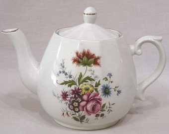 Vintage Teapot Wood & Sons England Garden Flowers on Sides Ironstone