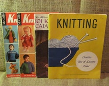 Vintage knitting books, Lois Holmes 101 knitting tips and catalog of originals, McCalls knitting book 2 and McCalls knitting book 3,