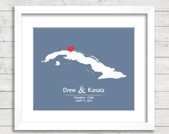 8x10 Cuba Wedding Map - Varadero, Cuba - Love Map - Destination Wedding - Caribbean Wedding - Engagement & Anniversary Gift - Newlyweds