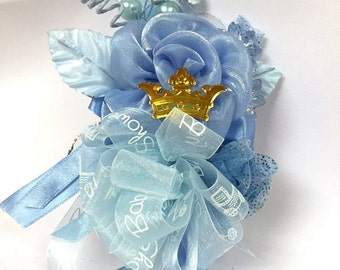 Baby Boy Prince Crown Baby Shower Blue Corsage Mom to Be