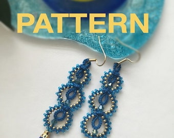 "Tatting Pattern and Step- by- Step Tutorial ""Blue Loops"" PDF Instant Download"