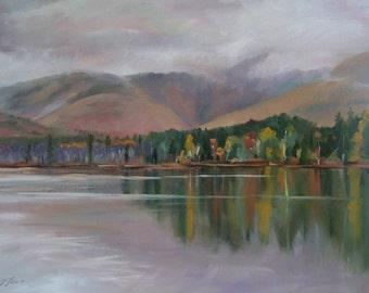 Mount Chocorua and Chocorua Lake New Hampshire Oil Landscape Painting