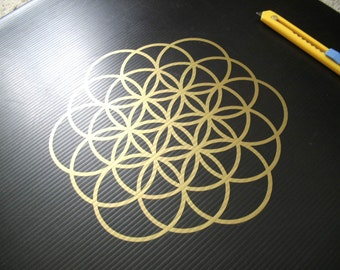 Flower of Life 19 Circles Gold Decal