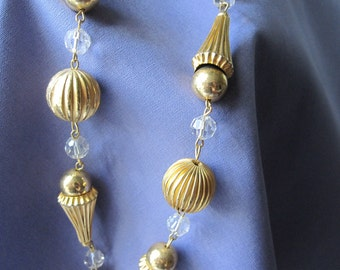 1960s LONG GOLD & CRYSTAL Bead Necklace