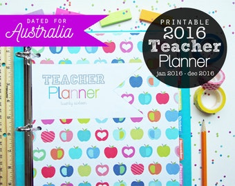 25% OFF 2016 Teacher Planner Printable Australia Version - Instant Download - Jan 2016 - Dec 2016, Logs, Lesson Planner, Lined Calendar
