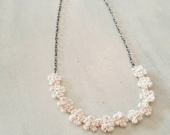 Ivory crochet flower lace necklace