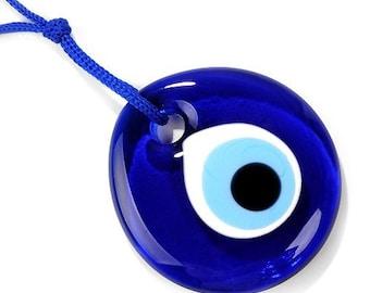 2 Inch Handmade Round Blue Glass Turkish Evil Eye Nazar Amulet Good Luck Charm