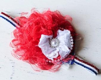 4th of July red lace baby headband, Red white blue baby headband, newborn headband , Baby headband, Vintage headband , Girl headband