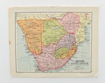 British South Africa map, 1934 Map of British South Africa, paper ephemera, pastel map, atlas page