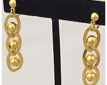 Avon Clip on Gold Tone Dangle Earrings, Avon Earrings