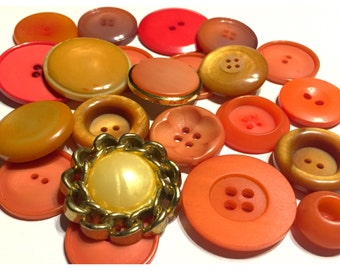 Orange, Yellow, Caramel Colored Vintage Button Lot of 22, Old Button Lot, Crafting, Sewing Buttons, Button lot 130