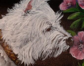 Leather Crossbody Clutch Purse 'Brody' a Highland West Terrier