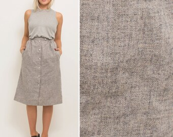Grey skirt vintage 80s BUTTON UP skirt high waist MINIMAL pockets midi grey minimalist secretary skirt