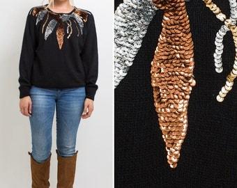 SEQUIN sweater vintage ANGORA 1980s BLACK silk cozy crew neck 80s sequined sparkle holiday sweater