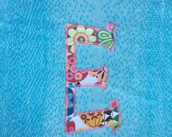 Extra Long Applique Beach Towel - Single Initial - Mint Beach Towel - Coral Beach Towel