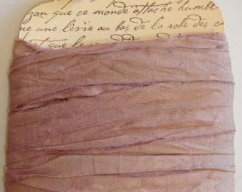 10 yards Hand Dyed Silk Sari Ribbon....  Dusty Lavender