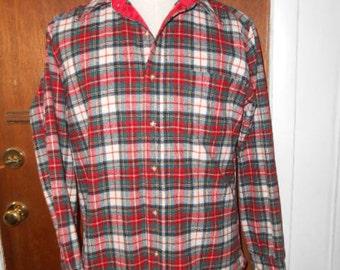 Mens Vintage Pendleton Dress Stewart Tartan Wool Shirt M Medium Made in USA