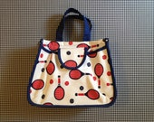 1960's, canvas, tennis print, tote bag, in white, red and navy