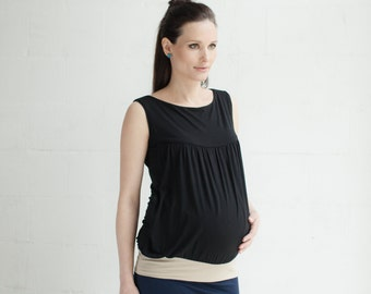 NERINGA NURSING TOP / black & sand for breastfeeding / pregnancy.
