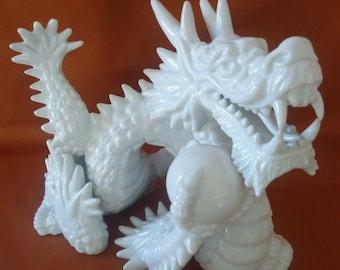 Porcelain Dragon by Fitz & Floyd Asian Chinoiserie Vintage Ceramic Home Decor