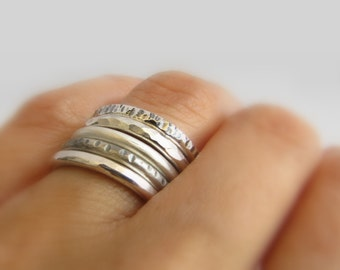 Stacking rings, stackable silver rings, silver ring band, silver stacking ring, sterling silver band, oxidized silver ring, hammered ring