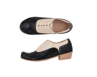 Oxford shoes women heels Black and Cream patent leather handmade, adikilav shoes ON SALE 20%