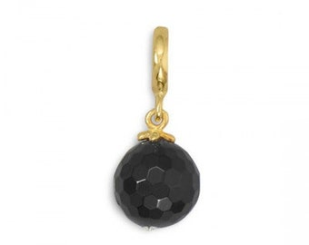 14 Karat Gold Plated Black Onyx Charm Bead, .925 Sterling Silver