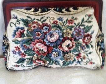 Vintage Tapestry/Fine Needlepoint Floral Clutch Purse.