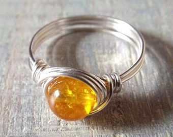 Citrine Ring, Yellow Stone Ring, Wire Wrapped Ring, Simple Ring, Sterling Silver Filled Ring, November Birthstone Jewelry, Citrine Jewelry