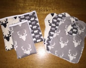Bib and Burp Cloth Set - Gender Neutral - Set of 3 Animal Theme - Perfect Gift For A New Baby