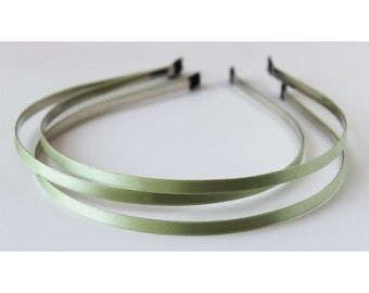 3pcs - Light Green 5MM satin over flexible metal head band, hair band supply [FL-40]