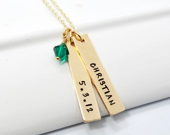 Gold Filled Personalized Hand Stamp Mother's Necklace | Personalized Gold Jewelry