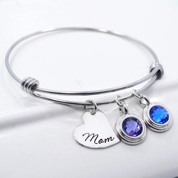 adjustable bangle bracelet with birthstones