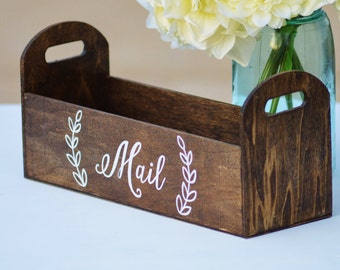 rustic mail holder, wood mail organizer, rustic home decor, house warming gift, gift for her, planter box, office organizer, mail box