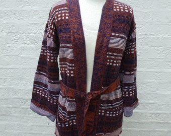 Cardigan 1980s top ladies clothing brown ethnic top womens acrylic wool cardigan jacket winter 80s indie clothes vintage top tribal wear.