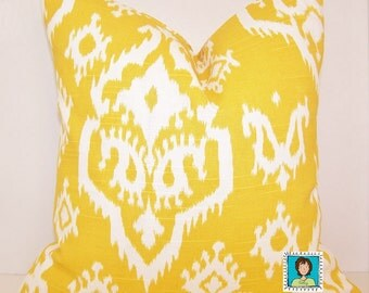 Yellow Ikat Pillow Cover, Toss Pillow, Pillow Cover, Euro Pillow, Lumbar,Couch Pillow,Throw Pillow,Bedding