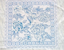 Vintage 90s Country French Blue White Floral Garden Pillow Panel Cotton Fabric
