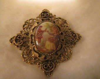 vintage Ornate metal Cameo style Brooch ,  Pin or Pendent